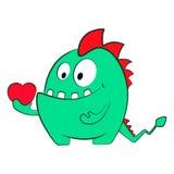 Dragón del monstruo del amor de la tarjeta del día de San Valentín con el corazón Ejemplo aislado de la historieta Imagenes de archivo