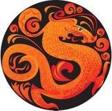 Dragón en círculo. ilustración del vector