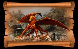 Dragón en el desfile del pergamino ilustración del vector