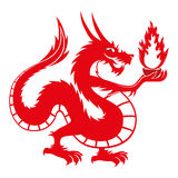 Dragón en el fondo blanco Fotografía de archivo