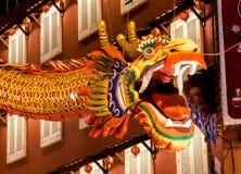 Dragón en la noche de la ciudad de Malacca Fotografía de archivo