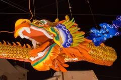 Dragón en la noche de la ciudad de Malacca Foto de archivo libre de regalías