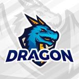 Dragón en mascota del deporte del escudo Concepto del remiendo del fútbol o del béisbol Insignias de la liga de la universidad, v Foto de archivo libre de regalías