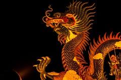 Dragón exótico del oro en fondo negro del cielo Fotos de archivo libres de regalías
