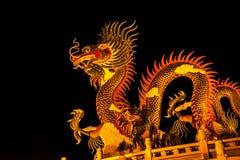 Dragón exótico del oro en fondo negro del cielo Fotografía de archivo