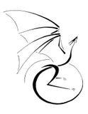 Dragón feliz, línea arte estilizada libre illustration