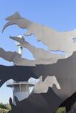 Dragón gigante del metal en el parque industrial de Espanya, Barcelona, España Fotografía de archivo