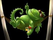 Dragón gordo en una hamaca Imagen de archivo