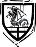Dragón heráldico del escudo Foto de archivo