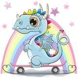 Dragón lindo con el monopatín en un fondo del arco iris stock de ilustración