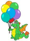 Dragón lindo con los globos Fotos de archivo