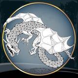 Dragón mitológico en el marco redondo La serie de criaturas mitológicas Fotografía de archivo libre de regalías