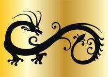 Dragón negro del vector en el oro Stock de ilustración