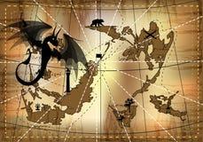 dragón negro en el fondo stock de ilustración