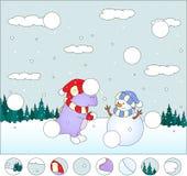 Dragón púrpura con el muñeco de nieve en el bosque del invierno: Fotos de archivo