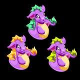 Dragón púrpura divertido del mar tres stock de ilustración