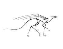 Dragón que camina, línea arte estilizada libre illustration