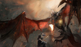 Dragón que lucha del caballero Fotos de archivo libres de regalías