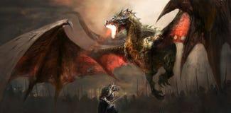 Dragón que lucha del caballero stock de ilustración