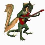 Dragón que toca la guitarra Imágenes de archivo libres de regalías