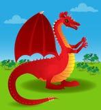 Dragón rojo hacia fuera en el abierto Fotos de archivo