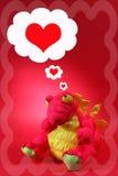 Dragón rosado con pensamientos del amor y del romance - tarjeta del día de San Valentín Fotos de archivo libres de regalías