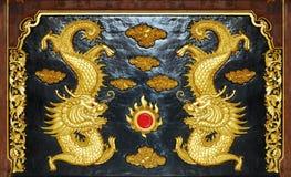 Dragón tallado madera Imagenes de archivo