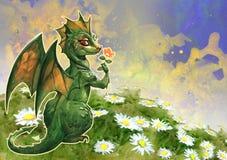 Dragón verde lindo libre illustration