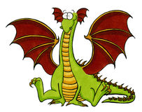 Dragón verde que se sienta en el suelo Fotos de archivo libres de regalías