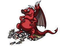 Dragón victorioso y caballero herido libre illustration