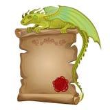 Dragón, voluta de papel antigua y sello de la cera ilustración del vector