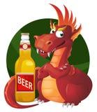 Dragón y botella rojos de cerveza Partido de Oktoberfest o apenas un weeke Fotografía de archivo