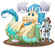 Dragón y caballero Imagen de archivo libre de regalías