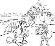 Dragón y caballero Castle Cartoon Fotografía de archivo libre de regalías