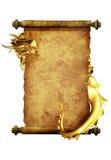 Dragón y desfile del pergamino viejo ilustración del vector
