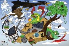 Dragón y guerrero Imágenes de archivo libres de regalías