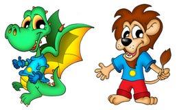Dragón y león de la historieta Imagenes de archivo
