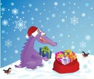 Dragón y presentes lindos Fotos de archivo libres de regalías