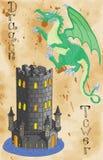 Dragón y torre en el fondo de papel Fotos de archivo libres de regalías