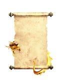 Dragón y voluta del pergamino viejo ilustración del vector