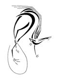 Dragón zanquilargo, línea arte estilizada stock de ilustración