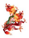Dragões chineses coloridos no fundo branco ilustração stock