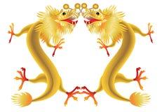 Dragões chineses dourados no fundo branco ilustração do vetor
