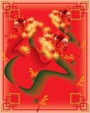 Dragões chineses no fundo da cor ilustração stock