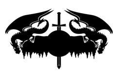 Dragões e espada Imagem de Stock