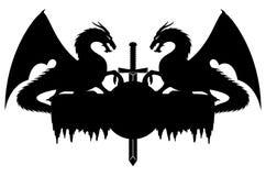 Dragões e espada Fotografia de Stock
