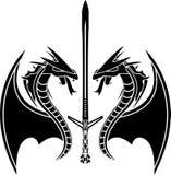 Dragões e espada de vôo Imagem de Stock Royalty Free