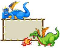 Dragões e sinal ilustração royalty free