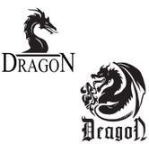 Dragões pretos em um fundo branco Fotografia de Stock