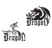 Dragões pretos em um fundo branco Foto de Stock Royalty Free